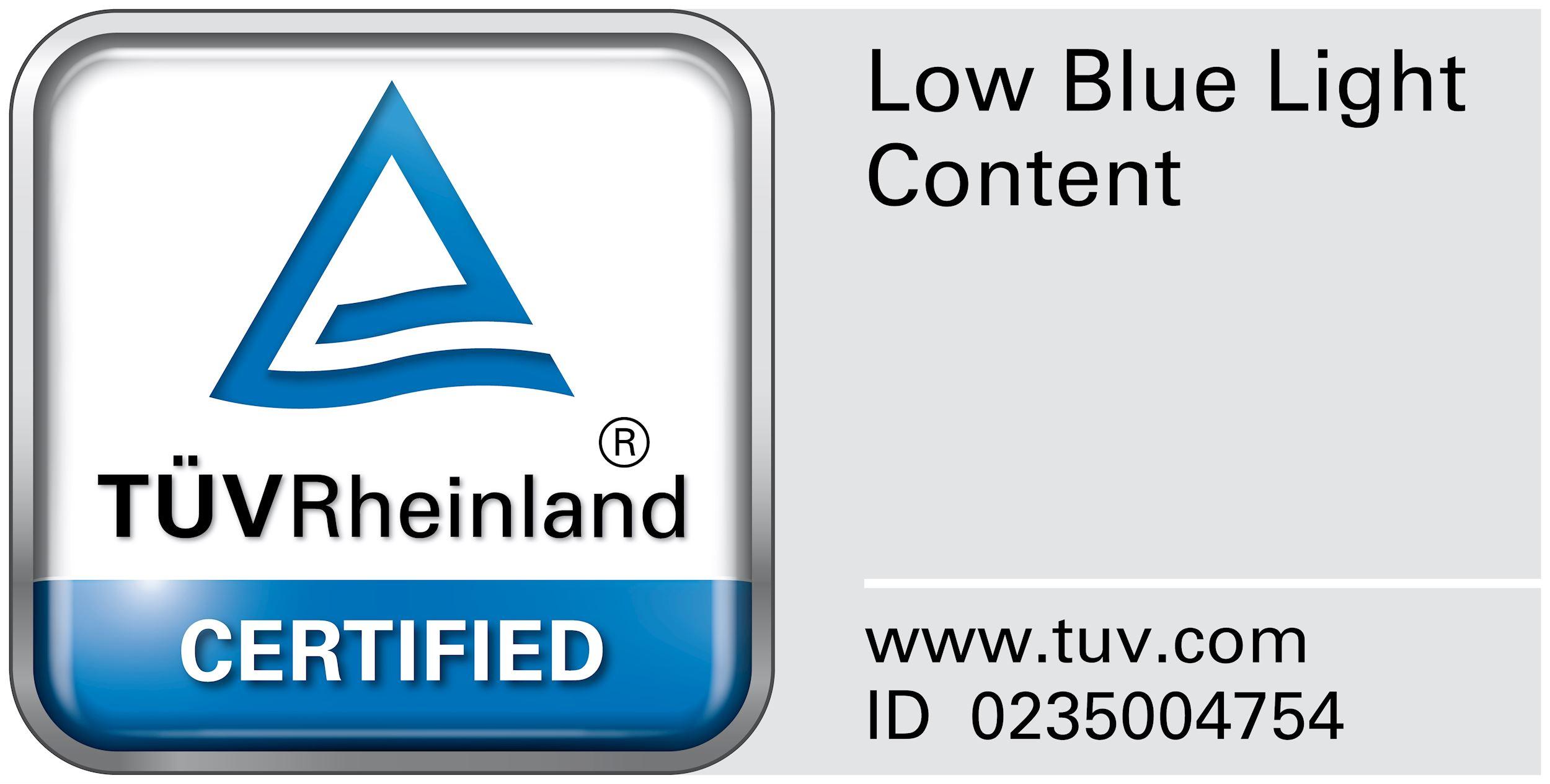 Certificación TUV, luz azul de baja intensidad