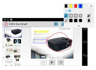 Realiza tus anotaciones con el nuevo proyector Optoma hdcast pro.